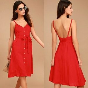 Lulu's Free and Pier Dress Button Front Midi Dress